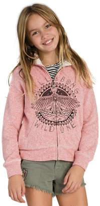 Billabong New Girls Passing Storms Zip up Hoodie Cotton Polyester