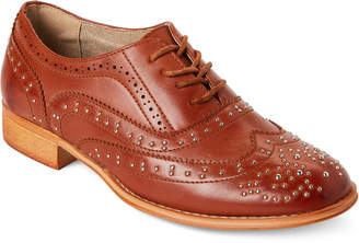 Wanted Tan Sibling Studded Wingtip Oxfords