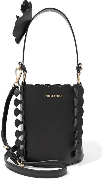 Miu MiuMiu Miu - Appliquéd Leather Bucket Bag - Black