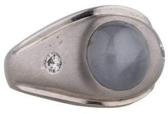 Fine Jewelry Ring Round Star Sapphire and Diamond Ring
