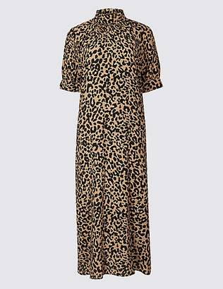 Limited Edition Animal Print Half Sleeve Shift Midi Dress