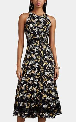 Derek Lam 10 Crosby Women's Floral Silk-Blend Jacquard Midi-Dress - Black