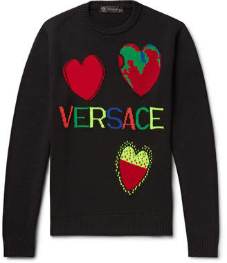 Versace Logo-intarsia Wool Sweater - Black
