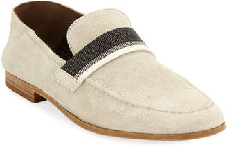 Brunello Cucinelli Suede Fold-Down Loafers with Monili Band