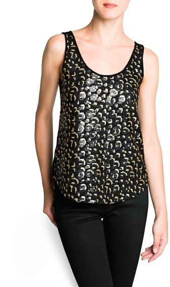 MANGO Leopard sequin top