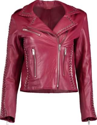 Nour Hammour Whipstitch Vinyl Leather Jacket