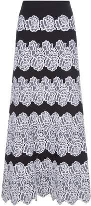 D-Exterior D.Exterior Bouquet Embroidered Maxi Skirt