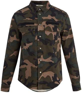 Valentino Detachable-hood camouflage-print field jacket