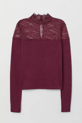 H&M Fine-knit Sweater with Lace - Red