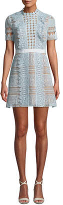 Self-Portrait Floral Lace Short-Sleeve Mini Dress