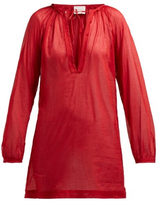 Marios Schwab On The Island By Floreana V Neck Cotton Tunic - Womens - Red