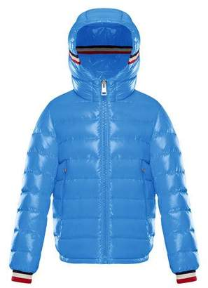 Moncler Quilted Hooded Puffer Jacket w/ Flag Trim, Size 4-6