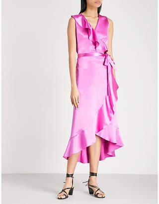 Maje Wrap front satin dress
