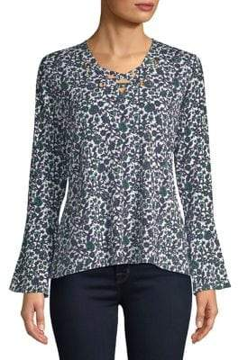 MICHAEL Michael Kors Wood Vine Bell-Sleeve Top