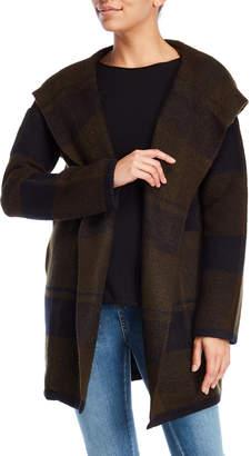 Matty M Hooded Plaid Sweater