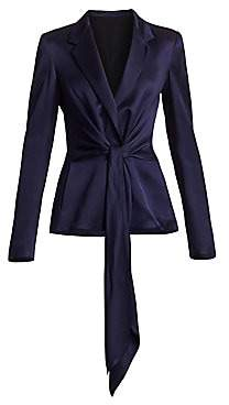 Roland Mouret Women's Dalton Satin Wool Tied Blazer