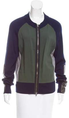 Reed Krakoff Leather-Accented Zip-Up Sweater