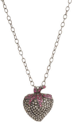 Bavna Glass Ruby & Diamond Strawberry Pendant Necklace