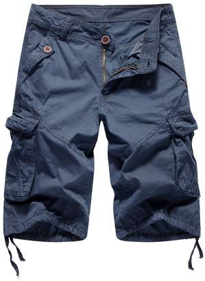 2f2008af38 FOURSTEEDS Men's Casual Loose Fit Multi-Pockets Camouflage Twill Bermuda Cargo  Shorts