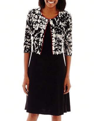 Perceptions Elbow-Sleeve Print Textured Jacket Dress $70 thestylecure.com