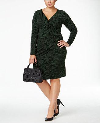 MICHAEL Michael Kors Plus Size Animal-Print Faux-Wrap Dress $135 thestylecure.com