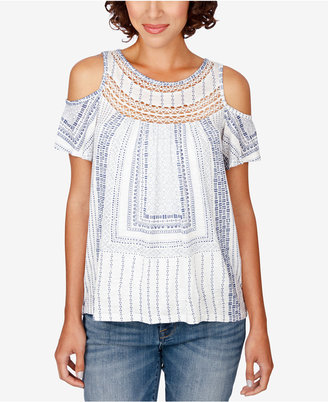 Lucky Brand Crocheted Cold-Shoulder Top $59.50 thestylecure.com