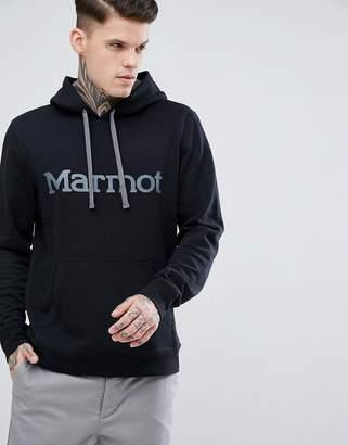 Marmot Logo Hoodie in Black