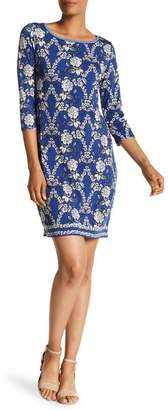 Max Studio 3/4 Sleeve Printed Shift Dress
