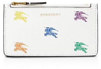 Burberry Equestrian Knight Top-Zip Leather Card Case