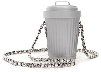 Moschino Rat-a-Porter Trash Can Leather Crossbody Bag, Gray $850 thestylecure.com