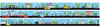 Bogner Fire & Ice Presto Chango Decor Tiny Town Street Road Wall Border Wall Decal / 4.5 inch x 13 Feet of Roads with Cars and Trucks Bus, Mail, Fire, Ice Cream, Police with School, Toy Store, Bank, Police and Fire Station.