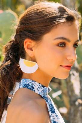 francesca's Trinity Fan Tassel Earrings - White
