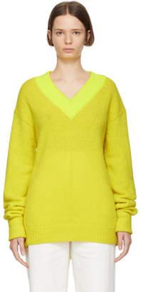 Tibi Yellow Alpaca V-Neck Pullover