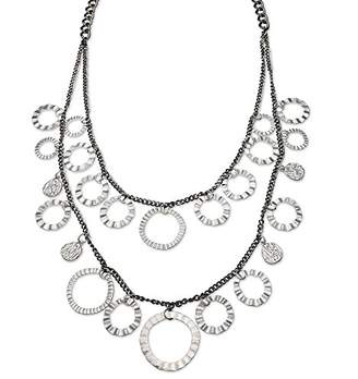 Jules B Grey Two Row Long Necklace with Ring Drops of Length 63-71cm
