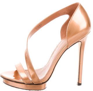 B Brian Atwood Metallic Platform Sandals $130 thestylecure.com