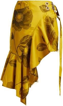 Marques Almeida MARQUES'ALMEIDA Asymmetric floral jacquard mini skirt