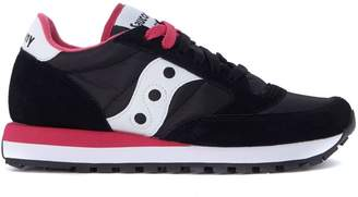 Saucony Jazz Black, White And Fuchsia Suede And Nylon Sneakers