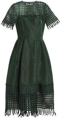 Oscar de la Renta Net-Paneled Pleated Duchesse Silk-Satin Midi Dress