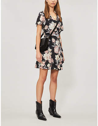 Paige Cardamom floral-print poplin mini wrap dress
