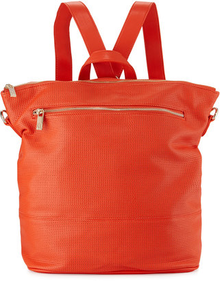 Neiman Marcus Perforated Square Backpack, Poppy $100 thestylecure.com
