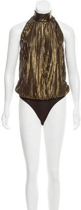 Torn By Ronny Kobo Metallic Pleated Bodysuit