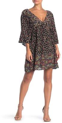 Angie V-Neck Kimono Sleeve Printed Mini Dress