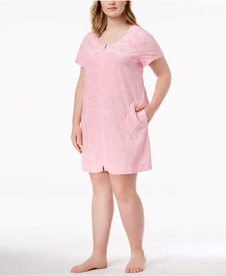Miss Elaine Plus Size Embossed-Leaf Knit Robe
