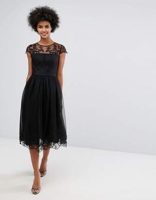 Chi Chi London Premium Lace Midi Prom Dress with Lace Neck $111 thestylecure.com