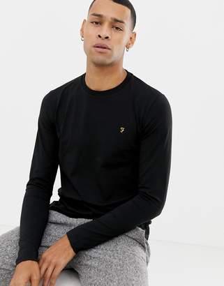 Farah Southall super slim fit logo long sleeve t-shirt in black
