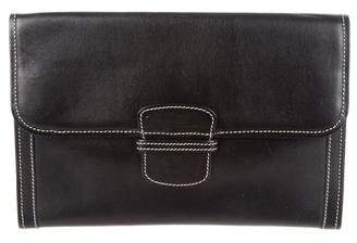 Bergdorf Goodman Leather Flap Clutch