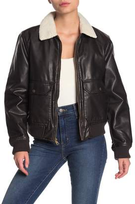 Levi's Faux Shearling Faux Leather Bomber Jacket
