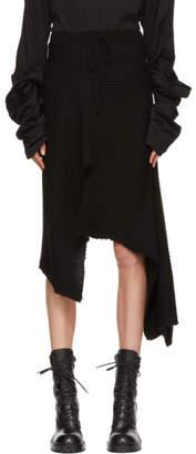Marques Almeida ブラック ドレープ ウール スカート