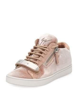 Giuseppe Zanotti Brek Velvet Side-Zip Sneaker, Beige $695 thestylecure.com