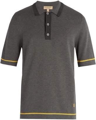 Burberry Tri-tone cotton-jersey polo shirt